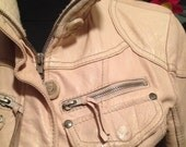 RESERVED RESERVED Cream soft multi pockets and belt saharian style leather jacket