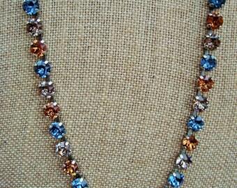 Swarovski Crystal Gemstone Necklace Spring Necklace Silver Denim Blue Smokey Topaz Greige 8.5mm Chatons 39ss Spring Denim Nights