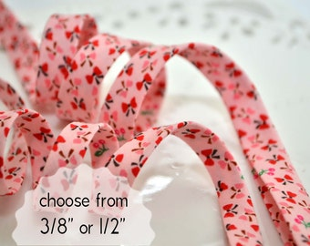 """bows and cherries - double fold, bias tape - 3 yards, CHOOSE 3/8"""" or 1/2"""" wide"""