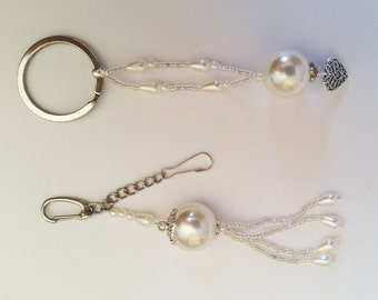 Pearls Charming Gift SET - Bag Chain Accessorie & Keychain Key Holder HANDMADE Christmas Gift, Co-worker Gift, Bridal Party Gift Wholesale
