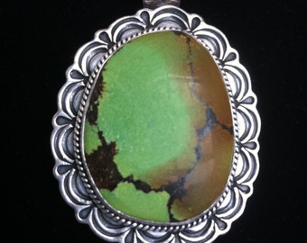 SALE Take 15% Off, Gary REEVES Turquoise and Sterling Brooch / Pendant, Navajo Silversmith, Native American