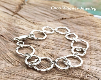 Circle Bracelet, Sterling Silver Hammered Circle Link Bracelet, Silver Chain Bracelet, Silver Circle Bracelet, Everyday Jewelry,Mothers Gift