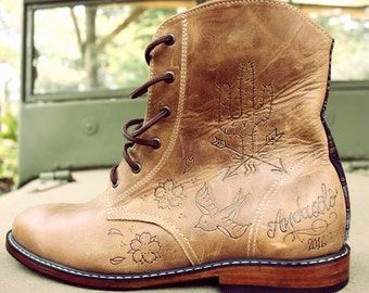 Handmade leather tattooed boots -Made to Order-