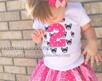 Puppy Second Birthday shirt Tutu headband Set Pink two 2 tea party garden party photo prop modern