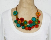Whimsical Short necklace, Wire wrapped Bib, Cute choker, Spiral necklace bib, Wearable art jewelry,  Turquoise Orange Red Green Yellow bib