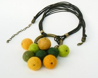 Felt Pompoms necklace, Rustic short pendant, Tribal style bronze necklace, Wearable bohemian jewelry, Ethnic wool pendant Eco friendly fiber