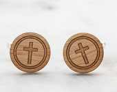 Cufflinks | Cross Cufflinks | Religious Gifts for Men | Christian Cross Cufflinks | Wood Cufflinks | Gift for Priest | Gift for Pastor
