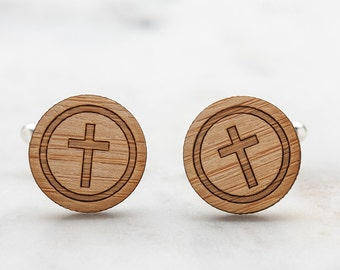 Religious Cross Cufflinks - Wood Cufflinks - Religious Jewelry for Men - Gift for Religious Leader, Priest or Pastor - Christian Gifts