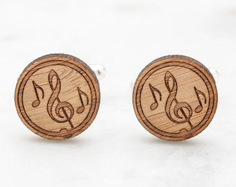 Musical Notes Cufflinks - Musical Scale Cufflinks - Treble Clef Cufflinks - Wood Cufflinks - Unique Gifts for Men - Suit Accessories