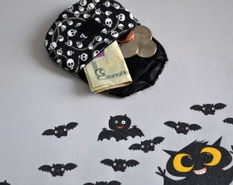 Skull coin purses, change purse, stocking stuffers, pouch, coin bag, mini wallet, purse, pocket pouch, gothic coin bag, Halloween purse