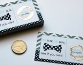 Bow Tie Scratch Off Game Cards Boys Baby Shower Lottery Grey Chevron Navy Polka Dot Little Man Party Activity Printed Set of 25