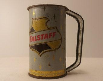Vintage 1960s FALSTAFF BEER Tin Cup - Vintage Breweriana, Vintage Barware, Home Bar, Man Cave, Beer Drinker, Falstaff Beer
