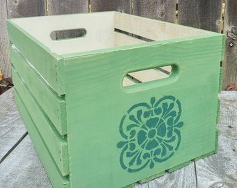 Soft Green Rustic Wood Crate, Painted Shabby Chic Storage / Organization Box
