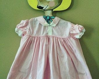 Vintage pink white trim dress 6-12 Months