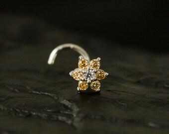 Champagne CZ Gems flower nose stud/nose ring/nose screw