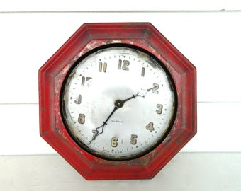 Vintage Clock Red Metal Wall Clock Gilbert Antique