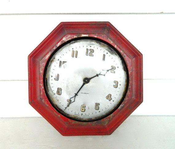Vintage Clock Red Metal Wall Clock Gilbert Antique