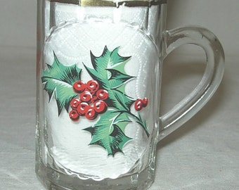 Vintage Xmas 1959 Butlin's Holiday Hotels Mini Glass Stein Mug Tankard 1950s Vacation Souvenir -F