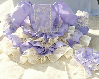 Girls Custom Chantilly Lace and Satin Ruffle Dress and Flower Headband - 3/6 month to size 8