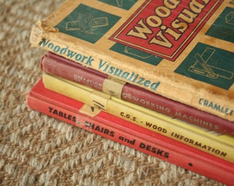 Vintage Woodworking Textbooks 1950s, Men, For Him, Father's Day, Carpentry, Wood, Vintage Books, Home Decor