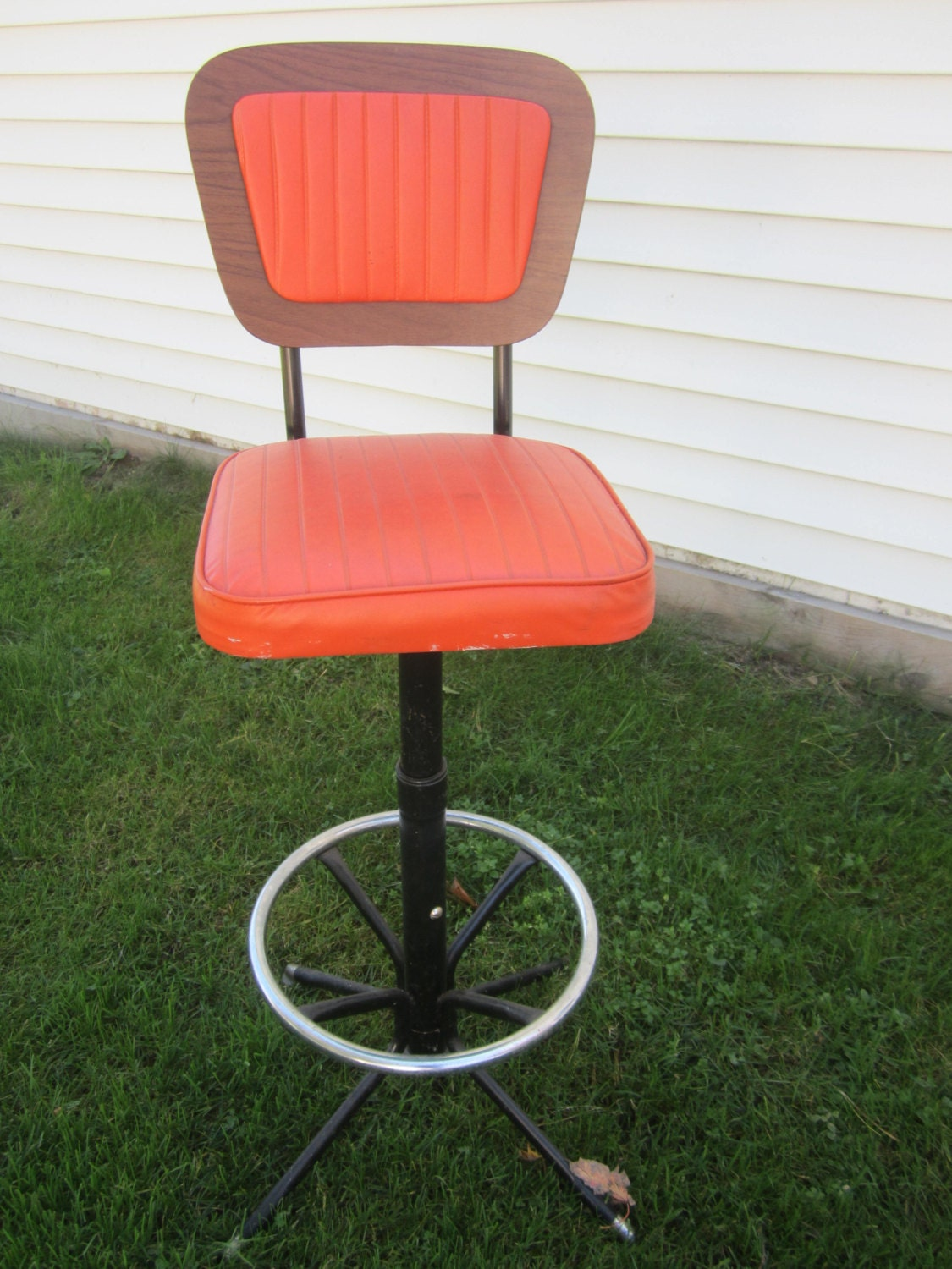 Orange Bar Stool Vintage Bar Stool Orange Stool Swivel Bar