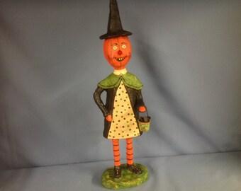 Paper mâché sculpted Halloween pumpkin figure