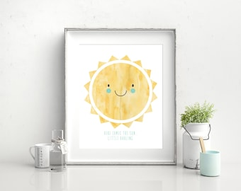 "Here Comes The Sun Little Darling Print , The Beatles, Wall Art, Nursery Decor, 8""x10"""