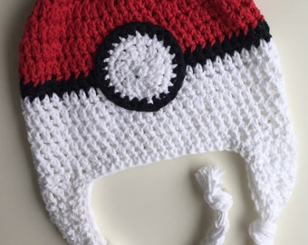 pokémon hat, poké ball hat, kids hat, crochet poke ball hat, crochet pokemon hat, pokeball hat