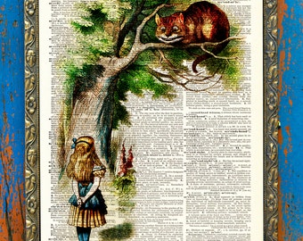 Original Alice and the Cheshire Cat Print on an Unframed Upcycled Bookpage