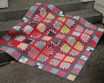 Scrappy Lap or Baby Quilt in Modern Bear Paw Pattern