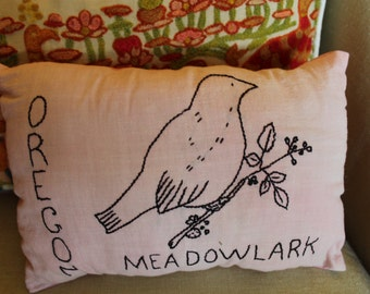 Primitive Oregon Meadowlark Pillow