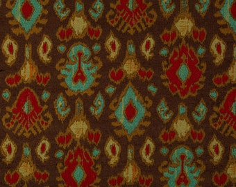 Chocolate Brown, Red, Turquiose and Gold Chenille Ikat Pillow Covers Custom Designer Kova Chocolate Fabric