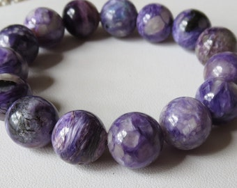 Charoite Grade AA Stretch Bracelet with 12mm Round Stones