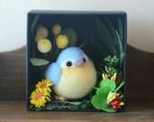 Blue bird in miniature garden diorama, needle felt bird in flowers shadow box, handmade bird figurine, home decor ornament, gift under 30