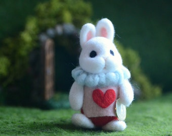 The White Rabbit doll, Alice in Wonderland rabbit with shadow box, needle felted bunny in flower garden diorama, gift under 50