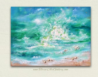 "SALE. Dancing Waves. 30""x40"" Large Original Mixed Media Art, beach home decor, ocean waves, seashells, 3d ocean,"