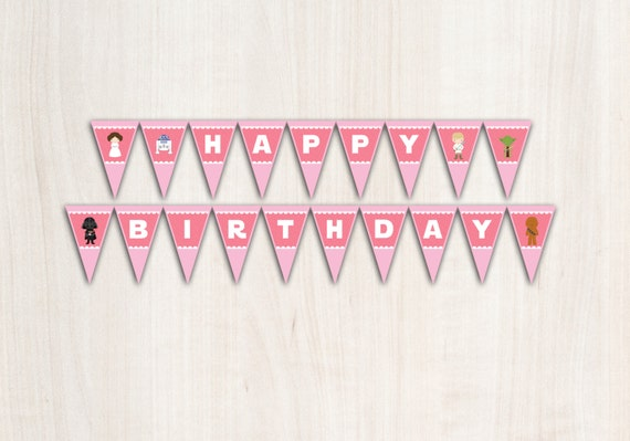 Leia Birthday Banner - Star Wars {inspired} Banner in Pink - Party Supplies - INSTANT DOWNLOAD