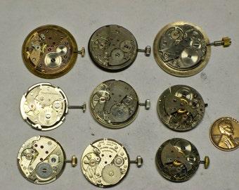 9 vintage mens wrist watch movements 9 tick E-437
