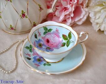 Paragon Light BlueTeacup and Saucer With Large Pink Rose, English Bone China Tea Cup Set, Cabinet Teacup, ca. 1960-1963