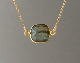 Double Connected Gold Gray Labradorite Square Necklace