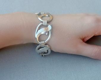 Vintage Silver Modernist Bracelet - Chunky Link Bracelet - Bold Jewelry - Statement Bracelet