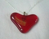 Fused glass loveheart pendant in red