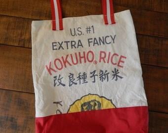 Market Tote Vintage Market Tote Feed Sack Purse Feed Sack Tote Grain Sack Vintage Material Purse Fabric