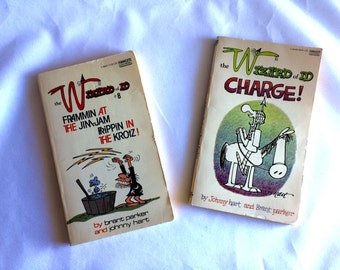"Vintage Wizard of ID Books Set of Two Paperback Books  The Wizard of ID #8 ""Frammin at the Jim-Jam Frippin In The Krotz!"" and ""Charge!"""