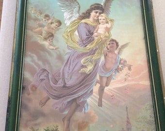 RESERVED Victorian Art Angel With Baby and Baby Angels Framed Religious Art Angel and Babies