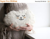 SALE Cloud pillow - Felted wool pillow - handmade cushion - baby kids room decor - white wool pillow decorated with wool locks - made to ode