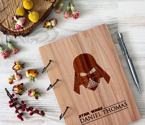 Stars Wars Wooden notebook - Darth Vader notebook - Custom Notebook - Personalized Engraved