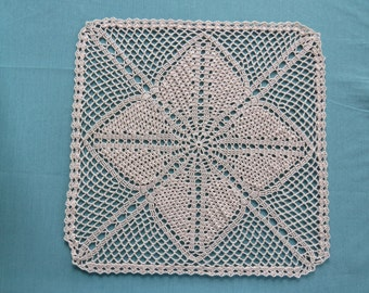 Square Crocheted Doily--Lucky Clover Pattern
