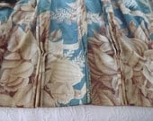 Vintage French Pleated Curtains, Triple Pleats, Turquoise & Brown, Roses And Ferns, Retro Window Decor, Repurpose Fabric, Circa 1940's