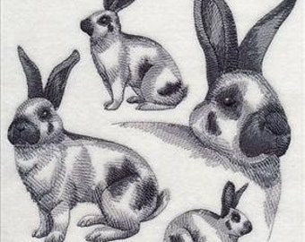 Custom Embroidered Checkered Giant Rabbit Sweatshirt S-3XL